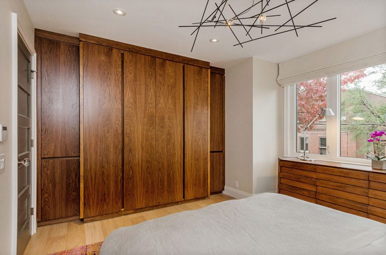 bedroom built in closet walnut